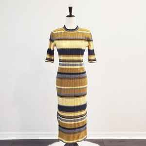 H&M Yellow Stripe Ribbed Bodycon Midi Dress Large